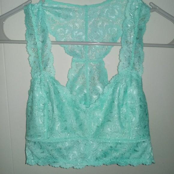 b99676a5f2991 Anemone Bralette Bra M L Blue-Green Lace